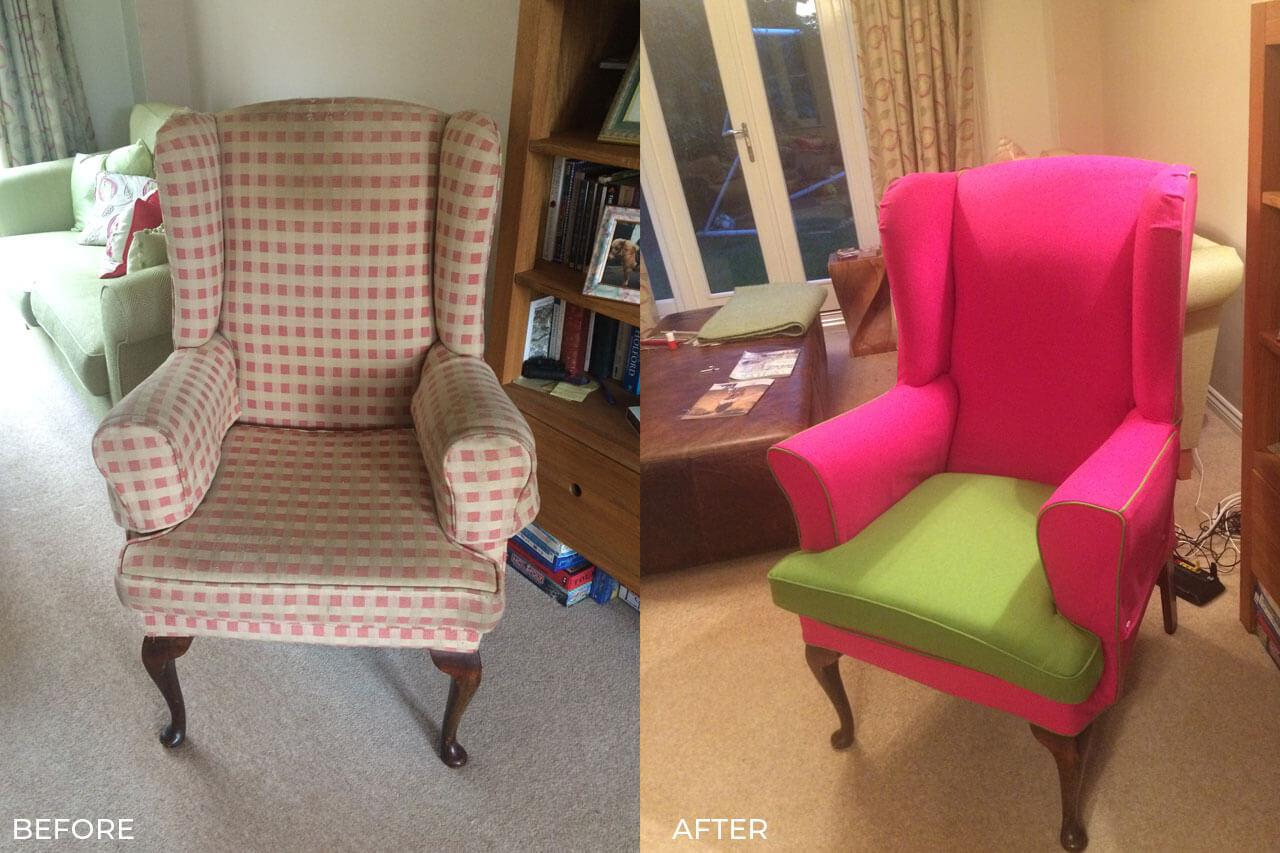Loose Cover for Winged Back Chair in Mawsley 01