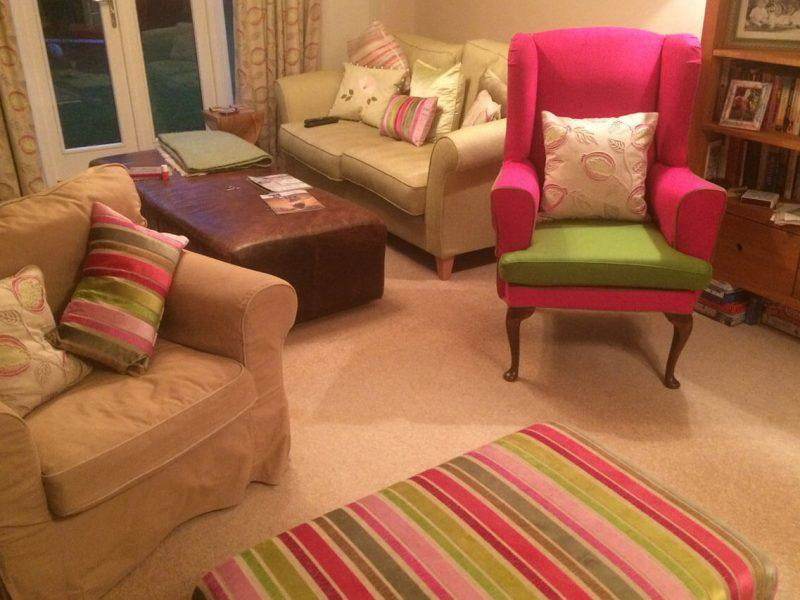 Loose Cover for Winged Back Chair in Mawsley 02